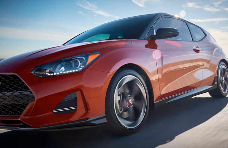 Stylized shot of the front lower right angle of a 2020 Hyundai Veloster