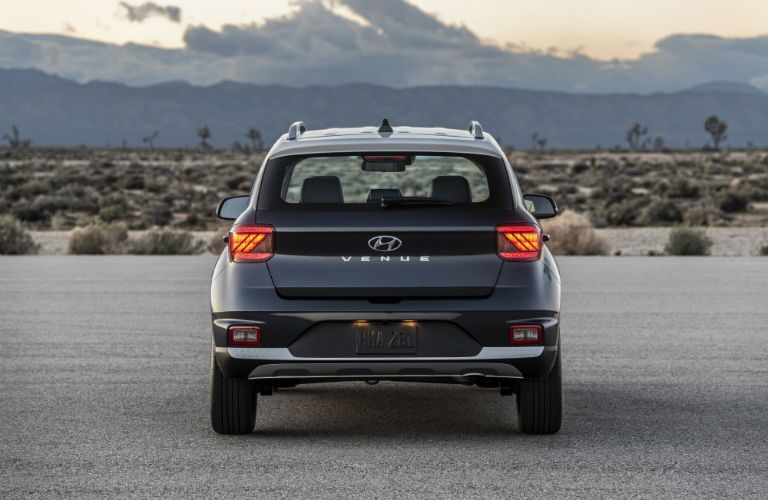 rear view of a black 2020 Hyundai Venue