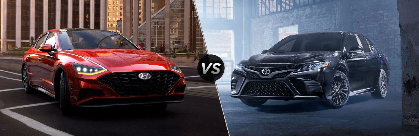 "Red 2020 Hyundai Sonata and black 2020 Toyota Camry, separated by a diagonal line and a ""VS"" logo."