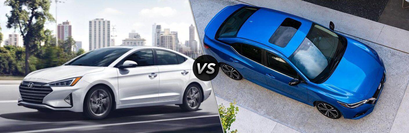 "White 2020 Hyundai Elantra and blue 2020 Nissan Sentra, separated by a diagonal line and a ""VS"" logo"
