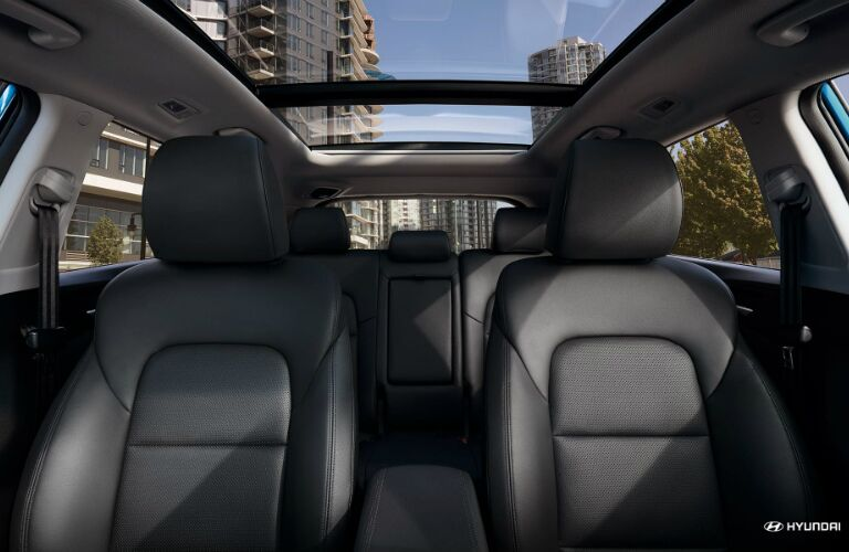 View of rear interior of the 2020 Hyundai Tucson with panoramic sunroof.