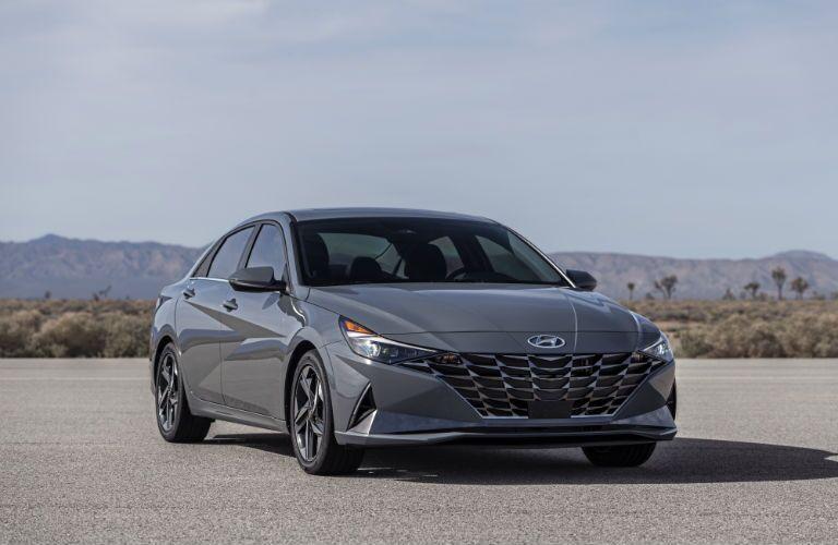 Front/side angled view of 2021 Hyundai Elantra Hybrid