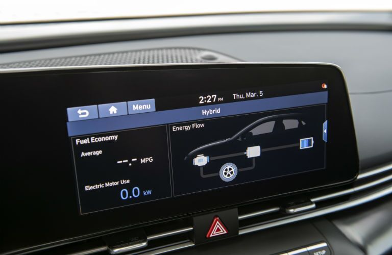 Screen inside 2021 Hyundai Elantra Hybrid showing pertinent info