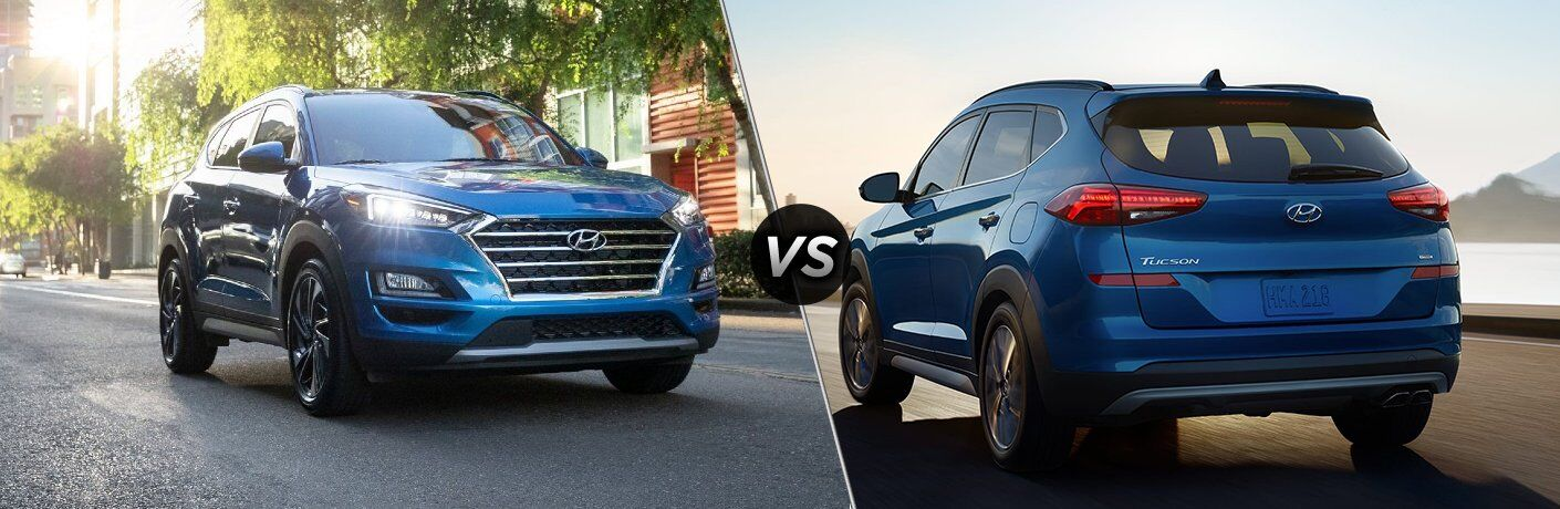 "2021 Hyundai Tucson and 2020 Hyundai Tucson, separated by a diagonal line and a ""VS"" logo"