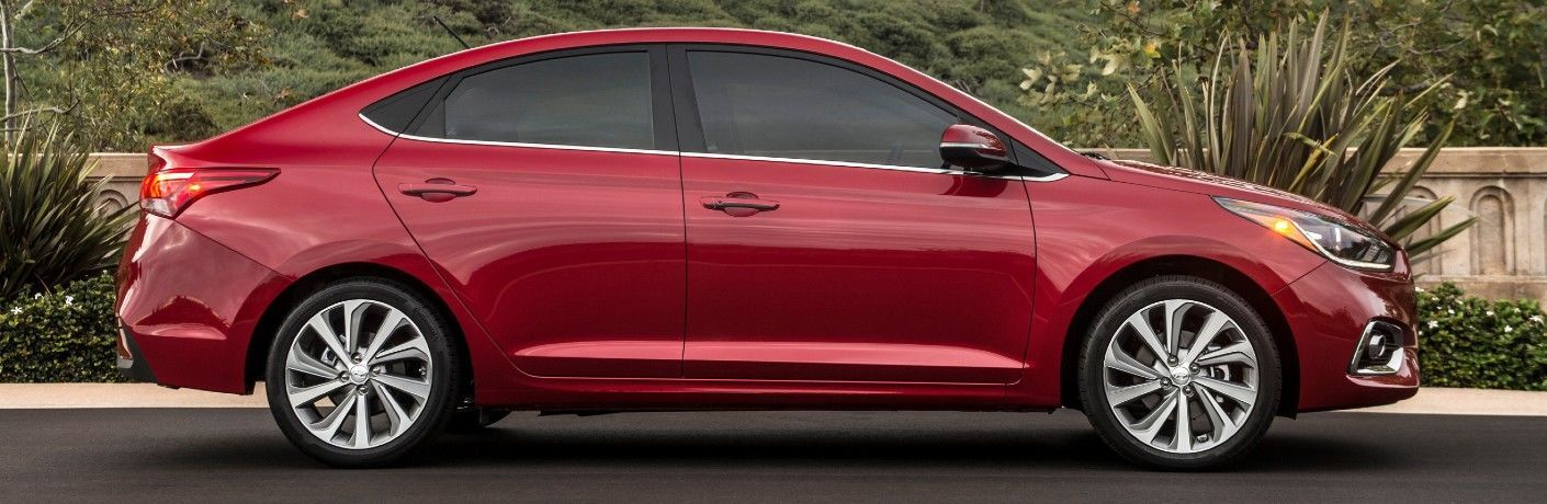 Side view of a red 2021 Hyundai Accent