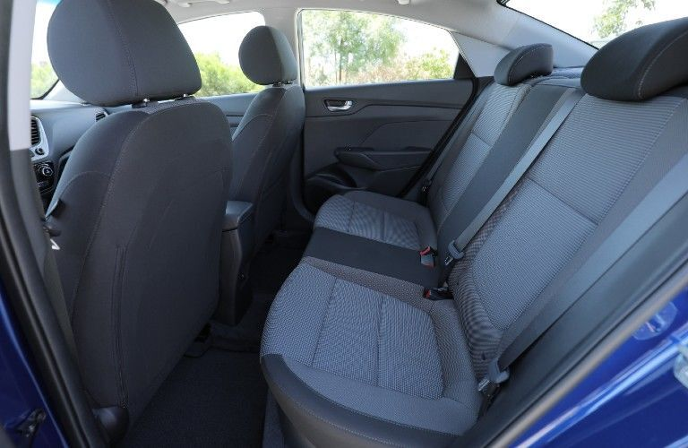 Side view of the rear seats inside a 2021 Hyundai Accent