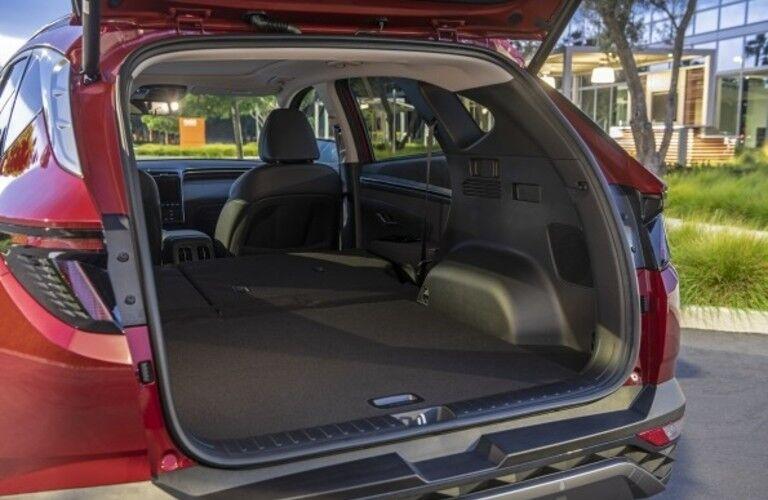 Open rear cargo hatch of 2022 Hyundai Tucson