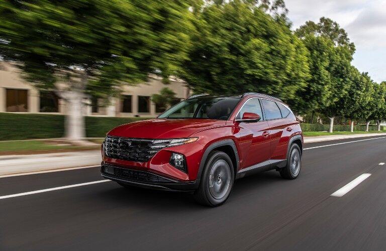 2022 Hyundai Tucson cruises through a suburb