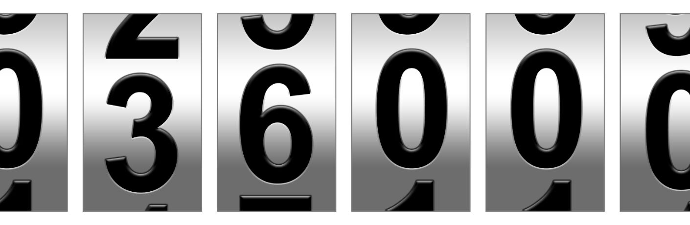 close-up view of the numbers on an odometer