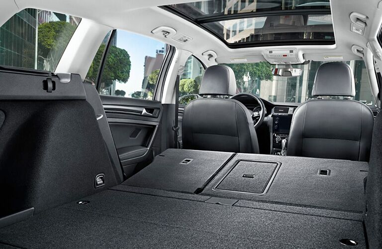 rear cargo area of a 2018 Volkswagen Golf SportWagen with all seats down