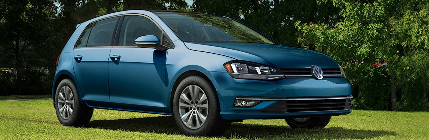 side view of a blue 2018 Volkswagen Golf