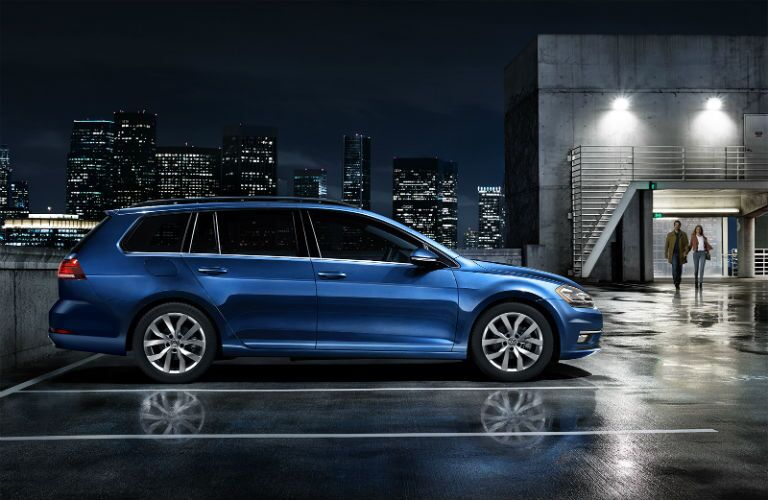 side view of a blue 2019 VW Golf SportWagen
