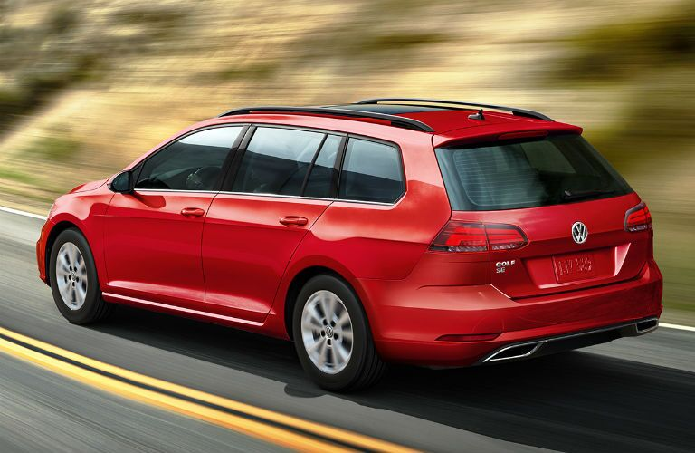 rear view of a red 2019 VW Golf SportWagen