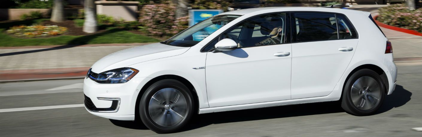side view of a white 2019 VW e-Golf