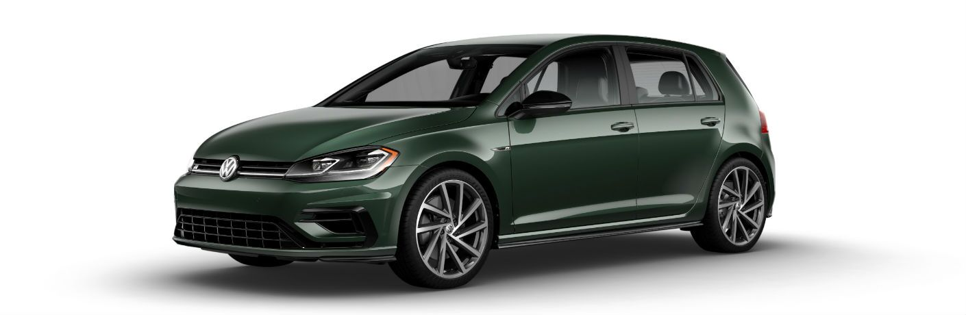 side view of a green 2019 Volkswagen Golf R