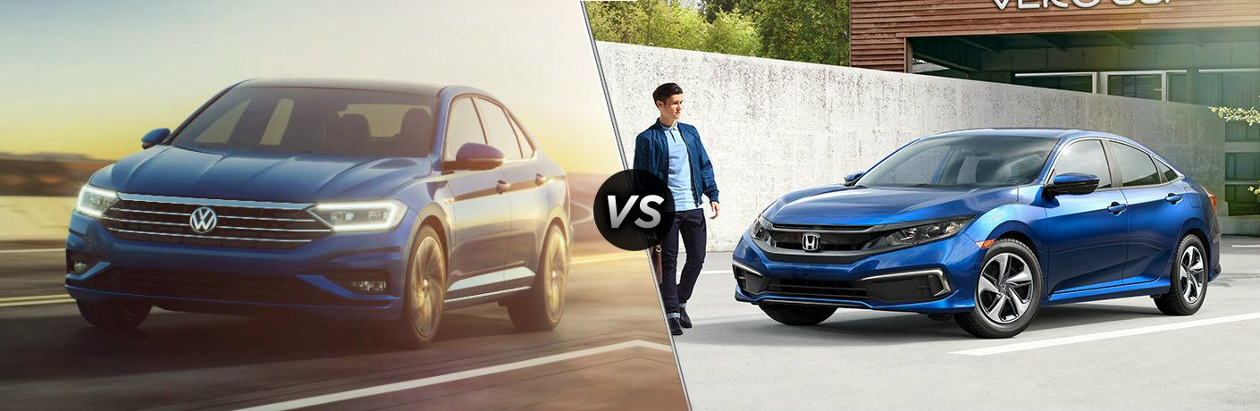 """Blue 2019 Volkswagen Jetta and blue 2019 Honda Civic, separated by a diagonal line and a """"VS"""" logo."""