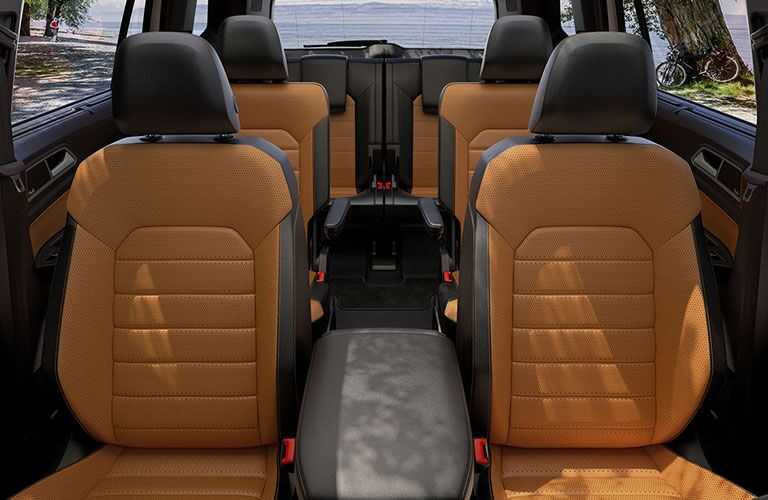 A look back at the three rows of seating inside a 2020 VW Atlas, with special styling accents equipped