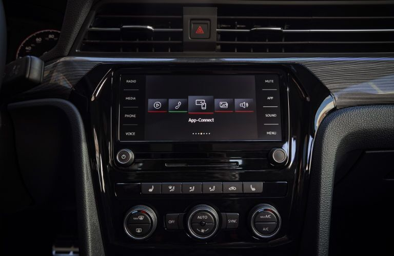 infotainment system in a 2020 VW Passat