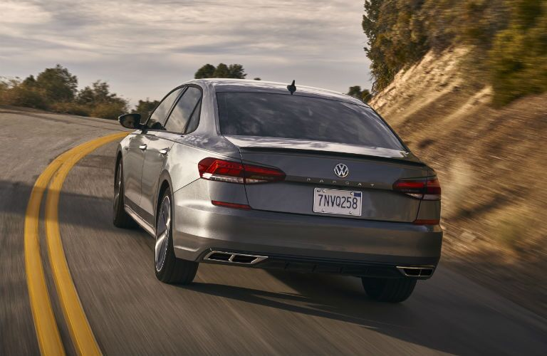 rear view of a silver 2020 VW Passat
