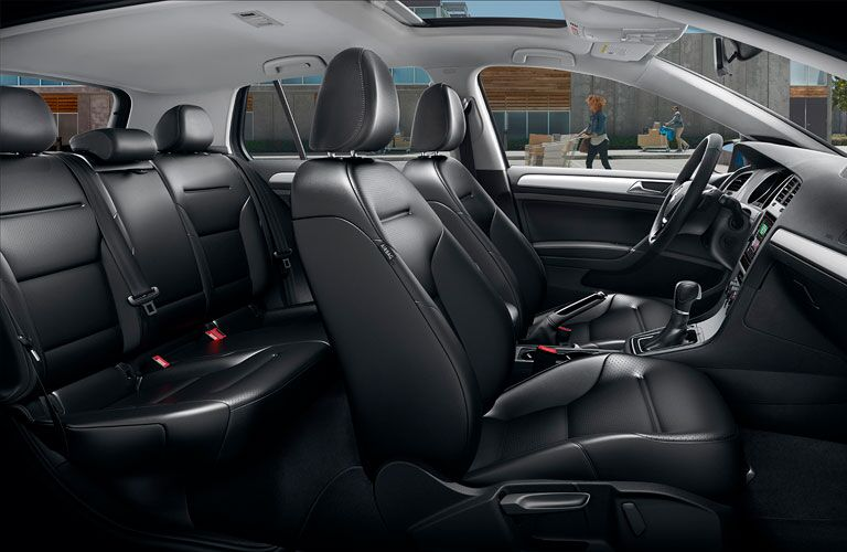 Side view of the seats inside a 2020 VW Golf