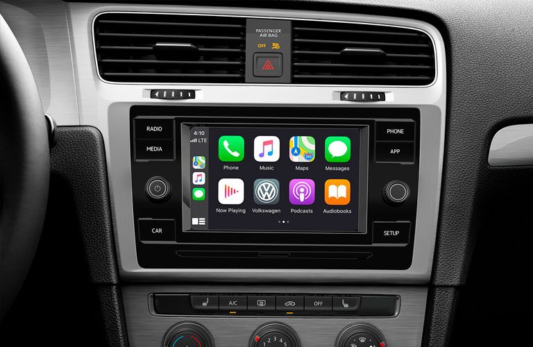 Apple CarPlay on the infotainment screen inside a 2020 VW Golf