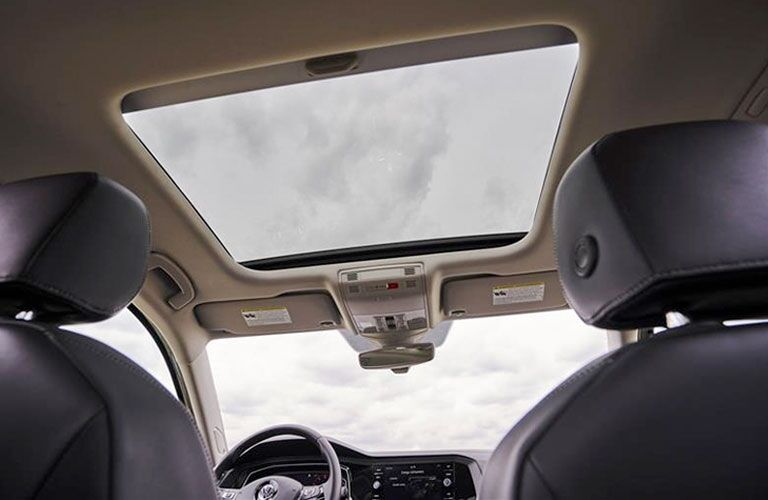View of the panoramic sunroof from inside a 2020 VW Jetta