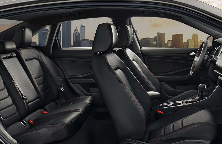 Side view of interior of 2021 Volkswagen Jetta