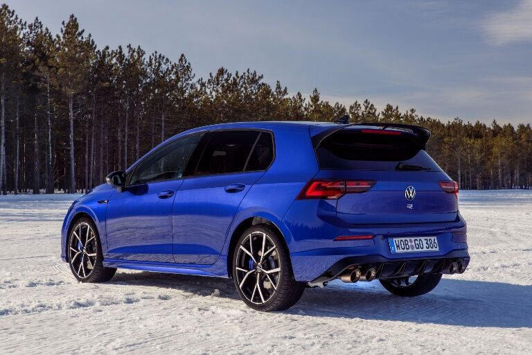 rear/side angled shot of 2022 Golf R in snow
