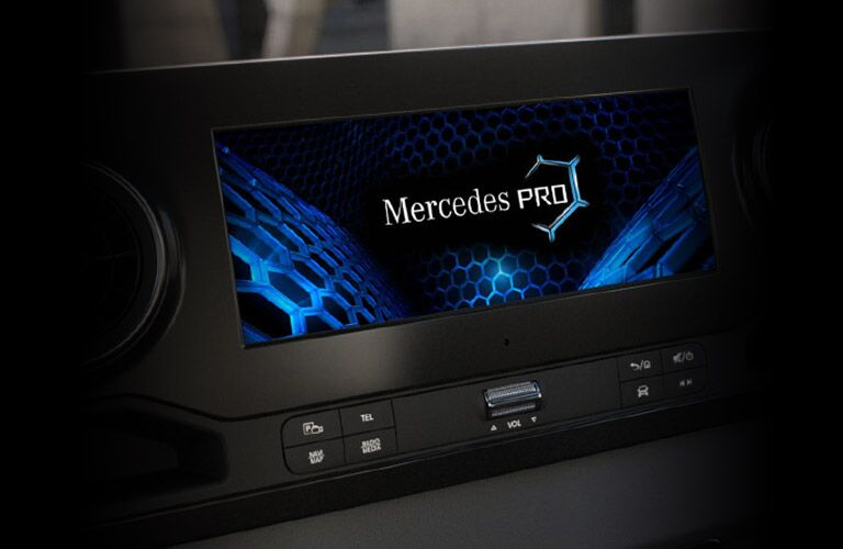 Close-up on Mercedes PRO system on the infotainment screen inside a Mercedes-Benz Sprinter