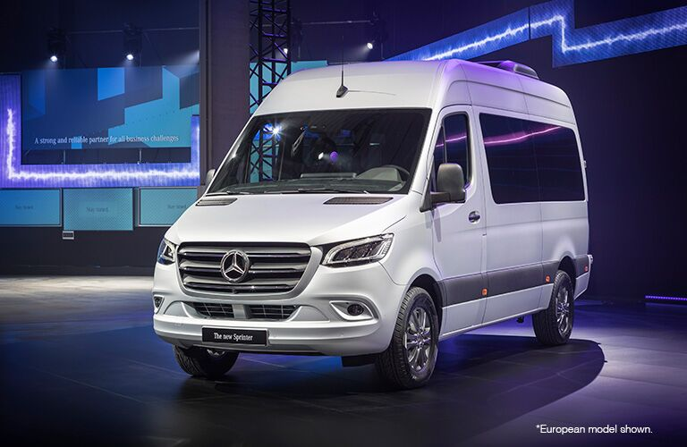 front view of a white 2018 Mercedes-Benz Sprinter