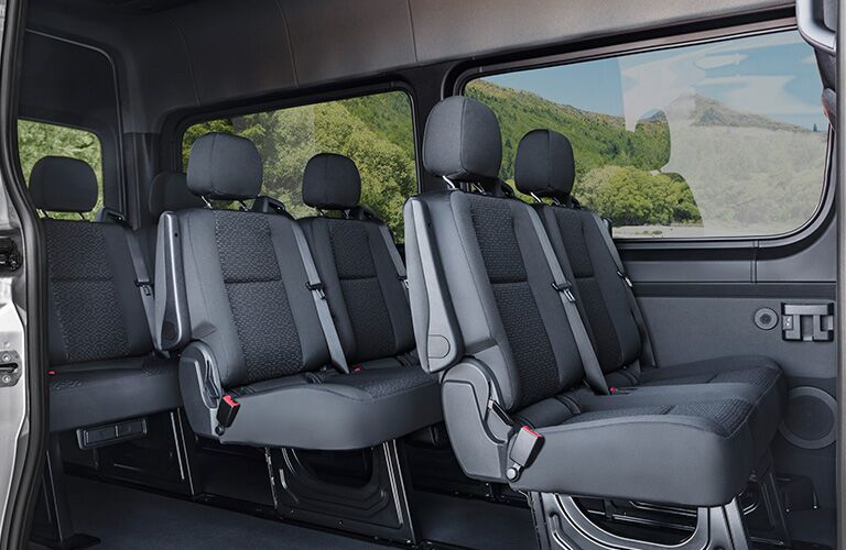 side view of the full interior of a 2018 Mercedes-Benz Sprinter