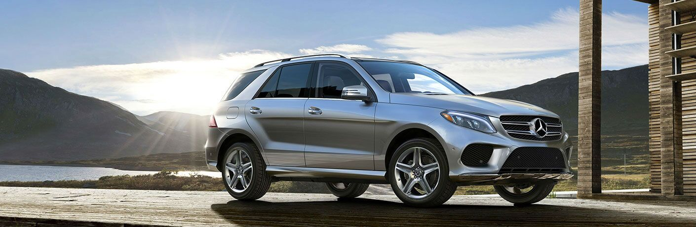 side view of a silver 2018 Mercedes-Benz GLE SUV
