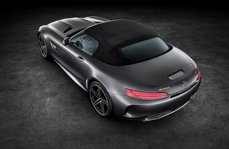high angle rear view of a black 2019 Mercedes-AMG GT Roadster