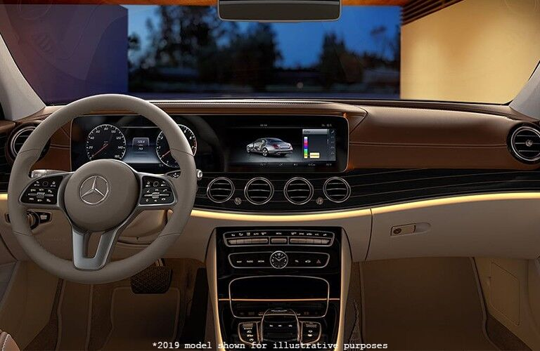 driver dash and infotainment system of a 2019 Mercedes-Benz E-Class sedan