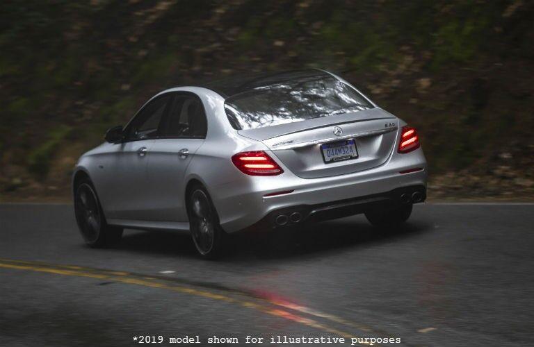 rear view of a white 2019 Mercedes-Benz E-Class sedan