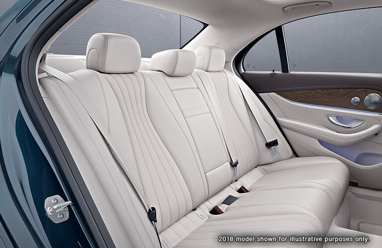 side view of the rear passenger space in a 2019 Mercedes-Benz E-Class