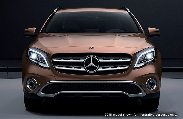 front view of a tan 2019 Mercedes-Benz GLA