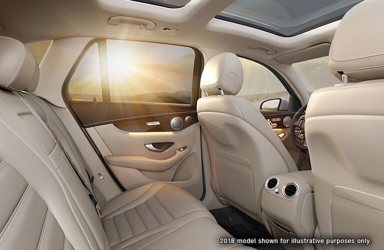 side view of the rear passenger space in a 2019 Mercedes-Benz GLC SUV