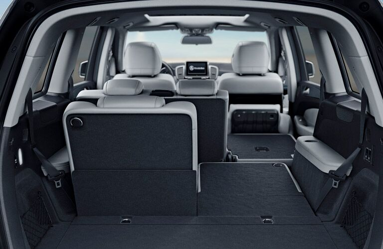 rear cargo area of a 2019 Mercedes-Benz GLS with seats down