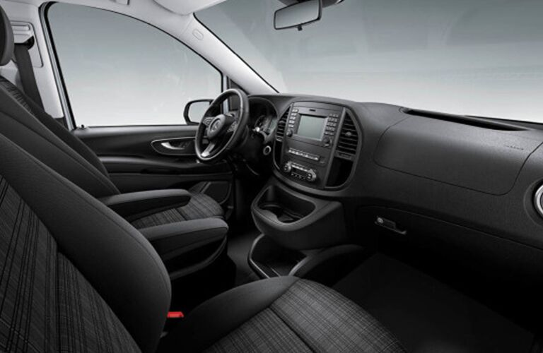 Front seat cabin of a Mercedes-Benz Metris Cargo Van