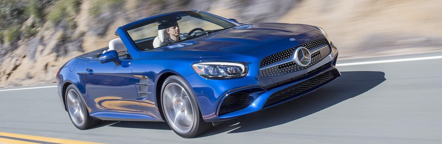 front view of a blue 2019 Mercedes-Benz SL Roadster
