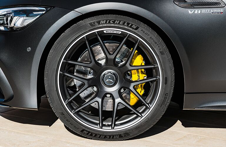 front wheel on a 2019 Mercedes-AMG GT Coupe