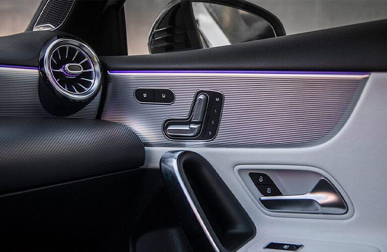 Purple light strips inside Mercedes-Benz A-Class