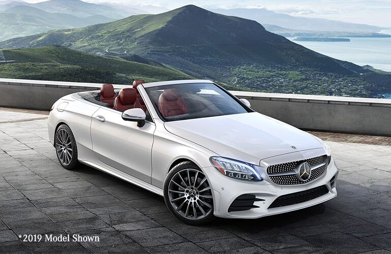 front view of a white 2020 Mercedes-Benz C-Class Cabriolet