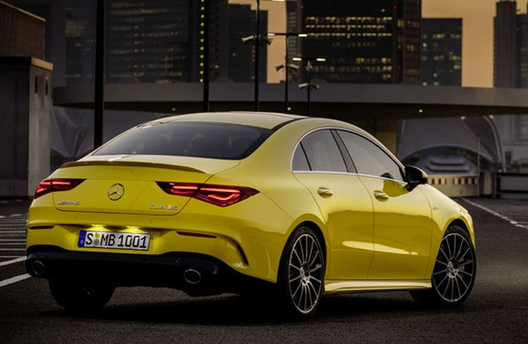 rear view of a yellow 2020 Mercedes-Benz CLA Coupe