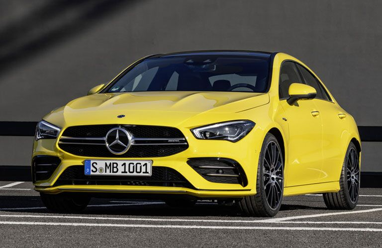 front view of a yellow 2020 Mercedes-Benz CLA Coupe