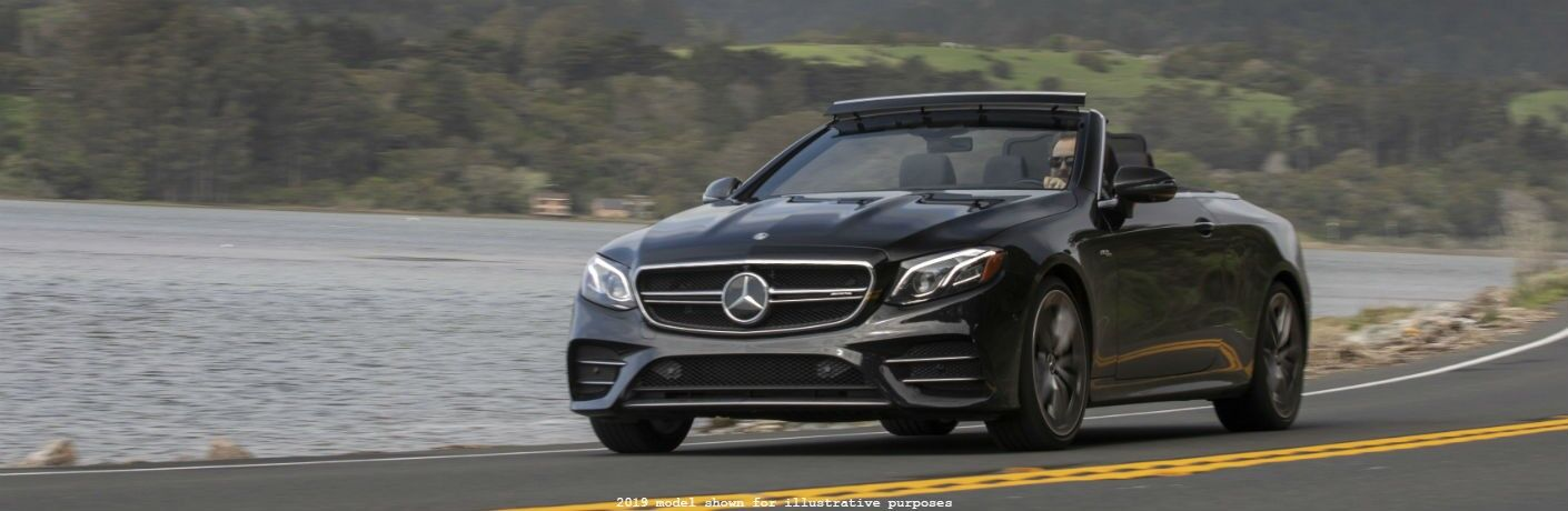 front view of a black 2020 Mercedes-Benz E-Class Cabriolet