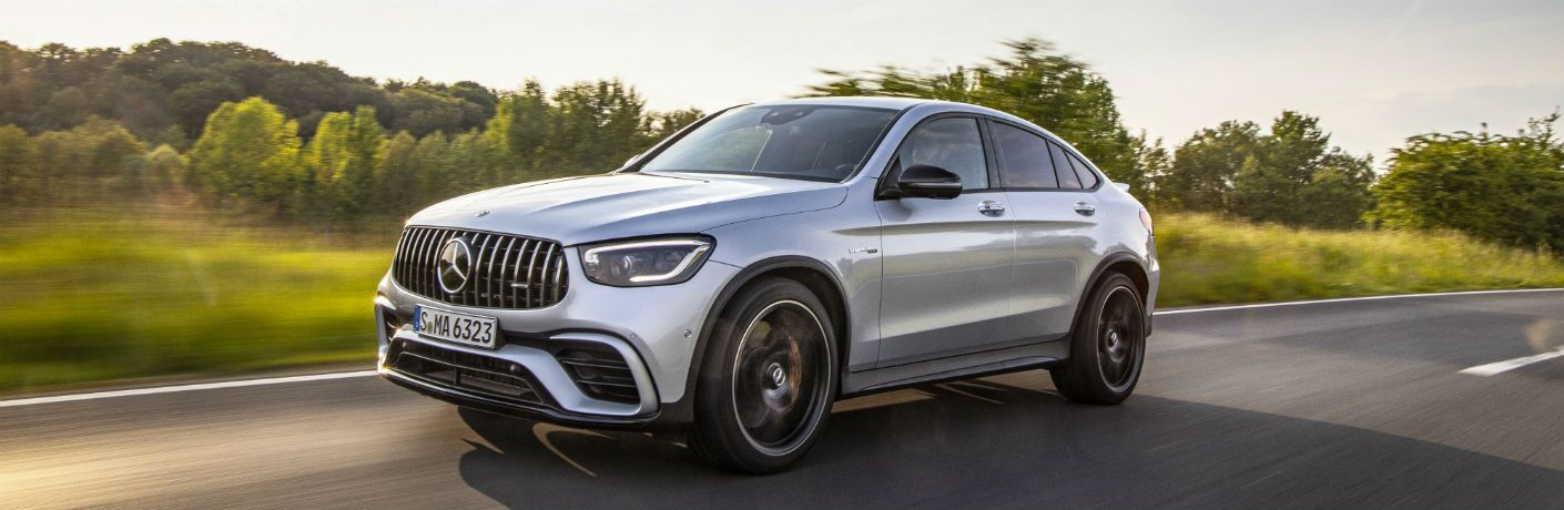 side view of a silver 2020 Mercedes-Benz GLC Coupe