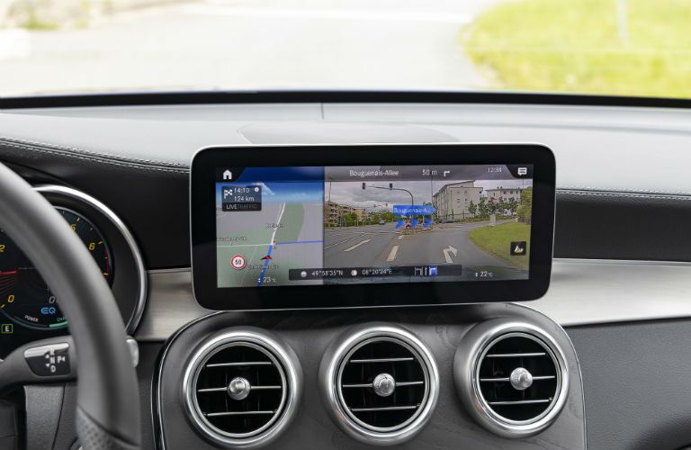 infotainment system in a 2020 Mercedes-Benz GLC Coupe