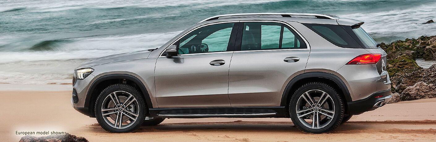 side view of a silver 2020 Mercedes-Benz GLE SUV
